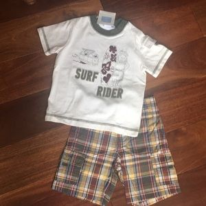 Janie and jack T-shirt and plaid shorts set surf